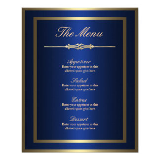 Blau-und Goldmenü-Karte Flyer