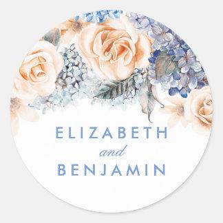 Blau-und Pfirsich-Blumen-elegante Hochzeit Runder Aufkleber