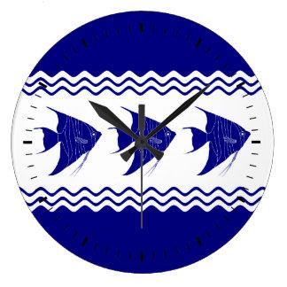 Blau-und weißerküstendekorAngelfish der Marine-3 Große Wanduhr