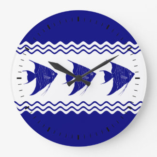 Blau-und weißerküstendekorAngelfish der Marine-3 Uhr