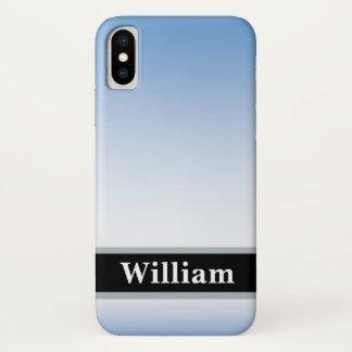 Blau verblaßt zum Weiß mit personalisiertem Namen iPhone X Hülle