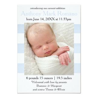 Blau/Weiß Stripes Foto - Geburts-Mitteilung Karte
