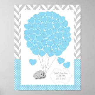 Blau, weiße graue Elefant-Babyparty 2 - Gast Poster