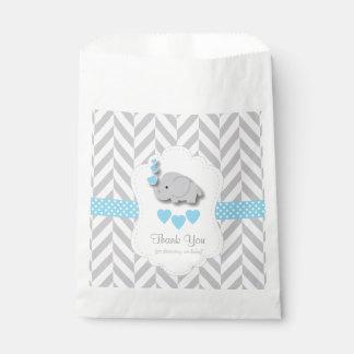 Blau, weiße graue Elefant-Babyparty dankt Ihnen Geschenktütchen