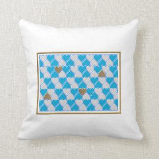 Blau, weißes bayerisches Muster Kissen