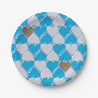 Blau, weißes bayerisches Muster Pappteller