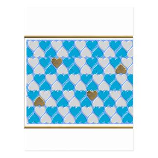 Blau, weißes bayerisches Muster Postkarte
