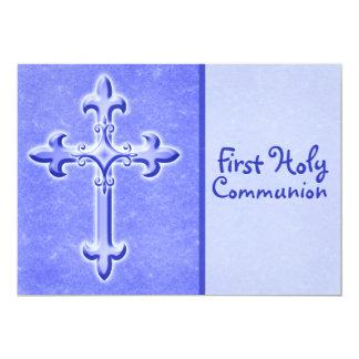 Blau-zuerst heilige Kommunions-Einladung 12,7 X 17,8 Cm Einladungskarte