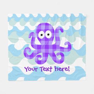 BlaubeerenOctopie lila Checkered Cartoon-Krake Fleecedecke