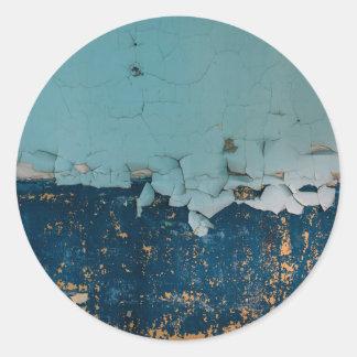 Blaue alte Schalenfarbenbeschaffenheit Runder Aufkleber