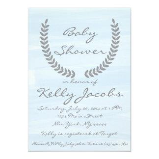 Blaue Aquarell-Babyparty-Einladung Karte