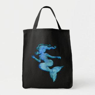 Blaue Aquarell-Meerjungfrau Einkaufstasche