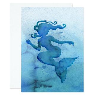 Blaue Aquarell-Meerjungfrau Karte