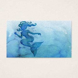 Blaue Aquarell-Meerjungfrau Visitenkarte