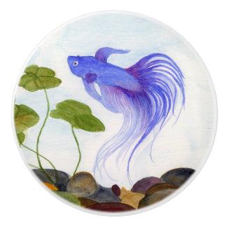 Blaue Betta Fische Keramikknauf