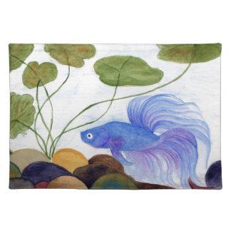 Blaue Betta Fische Stofftischset