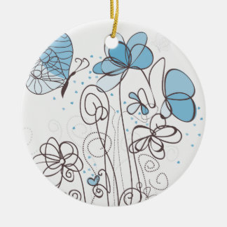 Blaue Blume Keramik Ornament