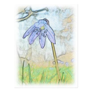 Blaue Blume Postkarte