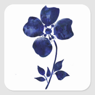 Blaue Blume Quadratischer Aufkleber
