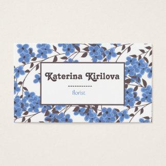 Blaue Blumen auf Niederlassungen Visitenkarten