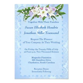 Blaue Blumen-Hochzeits-Einladung 12,7 X 17,8 Cm Einladungskarte