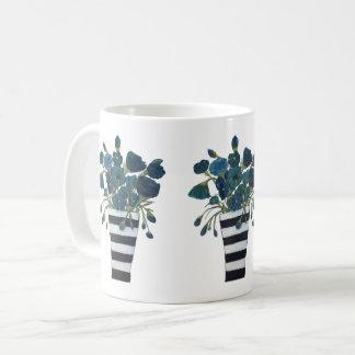 Blaue Blumen mit gestreifter Vasen-feiner Kunst Tasse