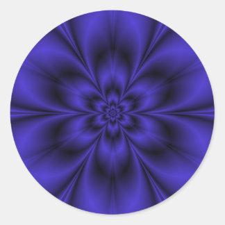 Blaue Blumen-runder Aufkleber
