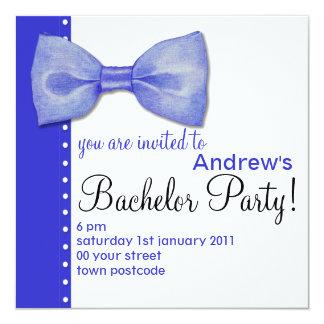 Blaue BowTie Junggeselle-Party Einladung
