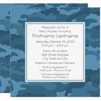 Blaue Camouflage-Baby-Jungen-Dusche oder Party Quadratische 13,3 Cm Einladungskarte