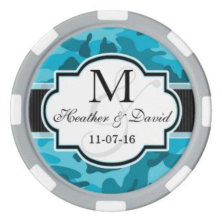 Blaue Camouflage, Tarnungs-Hochzeit Poker Chip Set