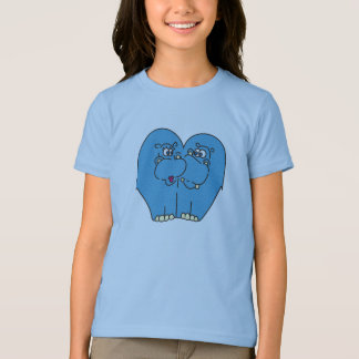 Blaue Cartoon-Flusspferde in der Liebe scherzt T - T-Shirt