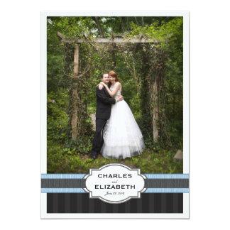 Blaue Chic-Hochzeit danken Ihnen Foto-Karte 12,7 X 17,8 Cm Einladungskarte
