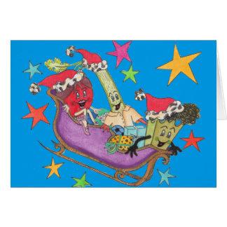 """Blaue """"Crunchy sternenklare"""" Weihnachtskarte Grußkarte"""