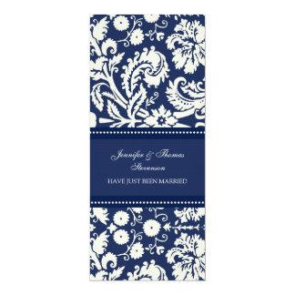 Blaue Damast-gerade verheiratete 10,2 X 23,5 Cm Einladungskarte