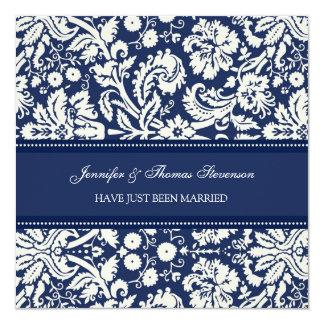 Blaue Damast-gerade verheiratete Quadratische 13,3 Cm Einladungskarte