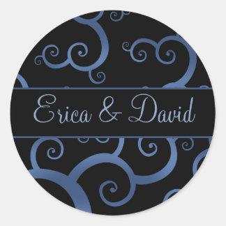 blaue Damast Hochzeits-Monogrammaufkleber Runder Aufkleber