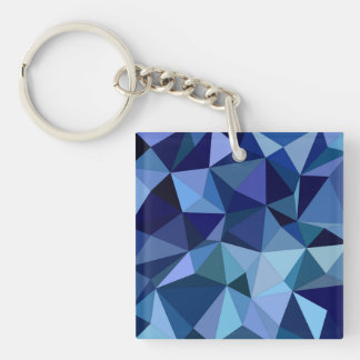 Blaue Dreiecke Beidseitiger Quadratischer Acryl Schlüsselanhänger