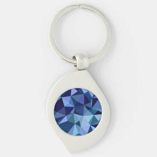 Blaue Dreiecke Silberfarbener Wirbel Schlüsselanhänger