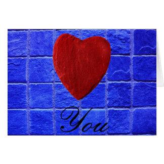 Blaue Fliesen Hintergrund Love you Karte