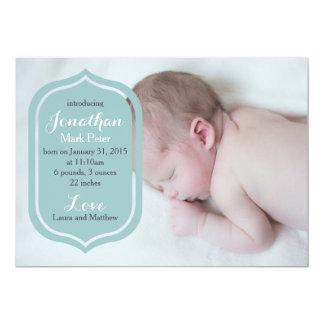 Blaue Foto-Geburts-Mitteilung | einfach und 12,7 X 17,8 Cm Einladungskarte
