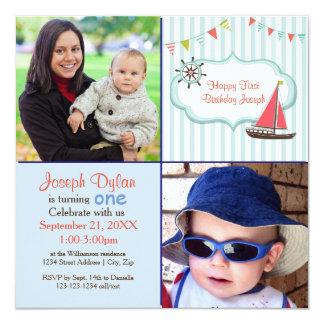 Blaue Foto-Kindergeburtstag-Einladung des Karte