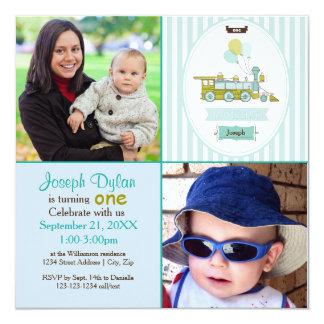 Blaue Foto-Kindergeburtstag-Einladung des Zug-2 Karte