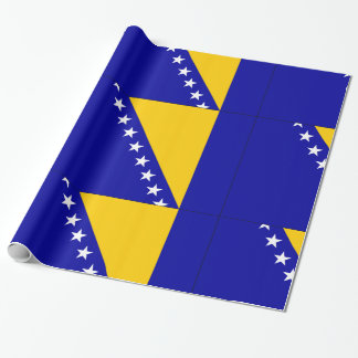 Blaue Gelbsterne Bosniens-Herzegowina Geschenkpapier