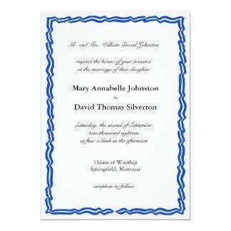 Blaue gestreifte Fahnen-Einladung 12,7 X 17,8 Cm Einladungskarte