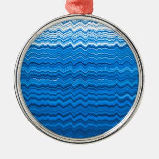 Blaue gewellte Linien Muster Rundes Silberfarbenes Ornament