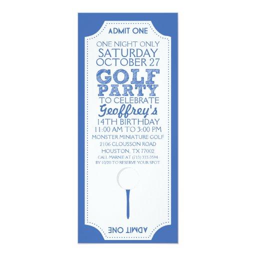blaue golf karten golf geburtstags party einladung zazzle. Black Bedroom Furniture Sets. Home Design Ideas