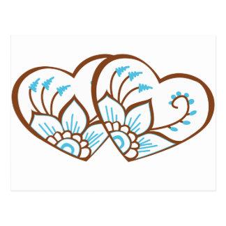 Blaue Hennastrauch-Herzen Postkarten