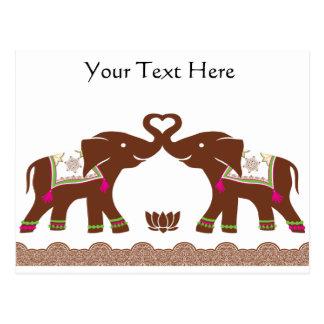 Blaue Herz-Elefant-Karte Postkarte