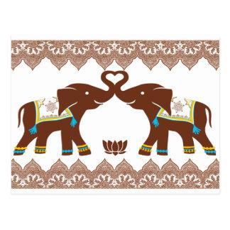Blaue Herz-Elefant-Karte Postkarten