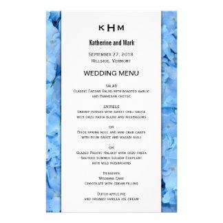 Blaue Himmelhydrangea-Hochzeits-Menü-Schablone Flyer